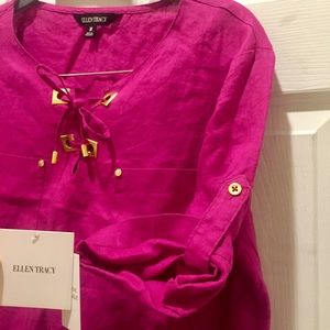NWT Ellen Tracy Pure Linen Top with Gold Accents